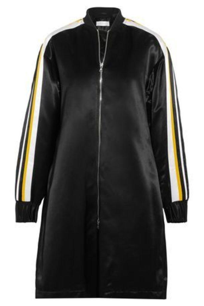 Victoria, Victoria Beckham Woman Striped Satin Jacket Black Size 10