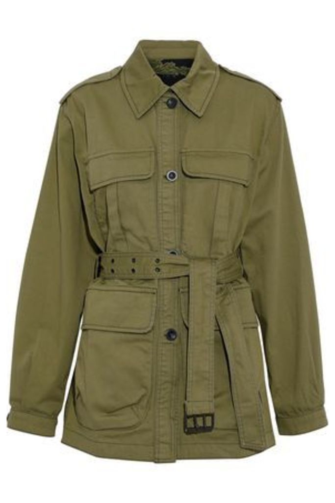 M.i.h Jeans Woman Lang Belted Cotton-twill Jacket Army Green Size M