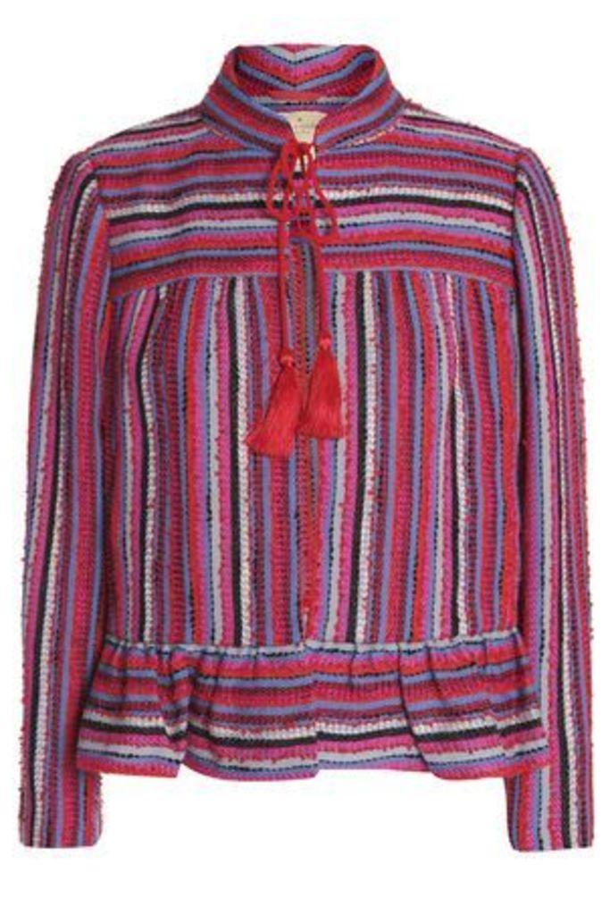 Kate Spade New York Woman Tasseled Wool-blend Tweed Jacket Multicolor Size 4