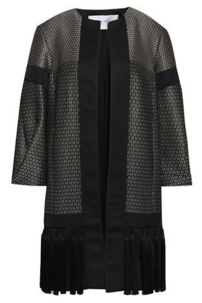 Amanda Wakeley Woman Tasseled Satin-trimmed Jacquard Jacket Black Size 16