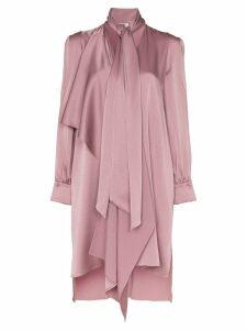 Fendi tie-neck asymmetric satin dress - Pink