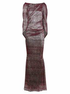 Talbot Runhof metallic draped long dress - Red
