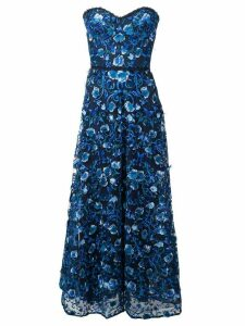 Marchesa Notte off shoulder gown - Blue