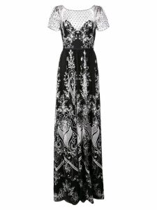 Marchesa Notte long embroidered dress - Black