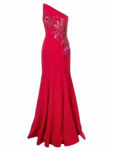 Marchesa Notte one shoulder long dress - Red