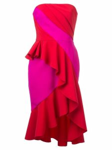 Marchesa Notte fitted strapless dress - Red