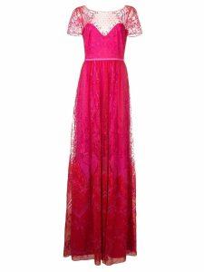 Marchesa Notte long lace dress - Pink