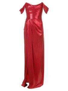 Marchesa Notte long strapless dress - Red