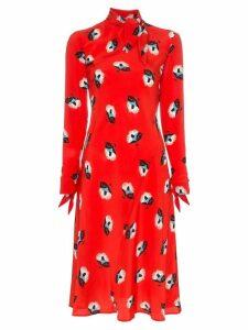 Etro floral print tie neck silk dress - Red