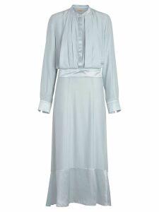 Burberry Silk Satin Shirt Dress - Blue