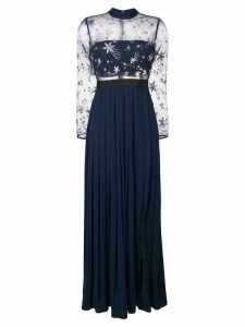 Self-Portrait star embroidered pleated gown - Blue