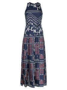 Valentino chevron and puzzle print twill silk dress - Blue