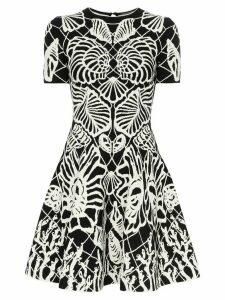 Alexander McQueen botanical print flared dress - Black