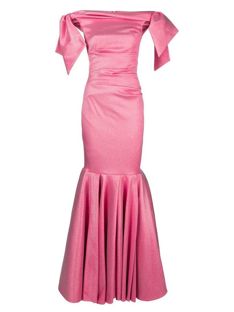 Talbot Runhof lamé evening dress - 397 (Fraise)