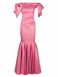Talbot Runhof lamé evening dress - 397 (Fraise)