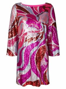 Emilio Pucci Sequin Embroidered Long Sleeve Dress - Pink