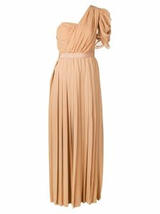 Self-Portrait one shoulder pleated dress - Neutrals