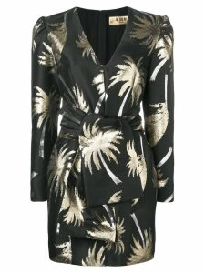 MSGM Palm tree structured dress - Black