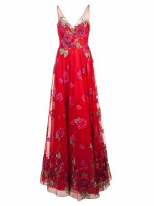 Marchesa Notte long flared dress