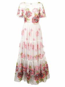 Marchesa Notte floral print long dress - White
