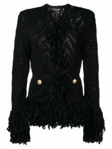 Balmain knitted fringe cardigan - Black