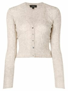 Theory cropped ribbed knit cardigan - Neutrals