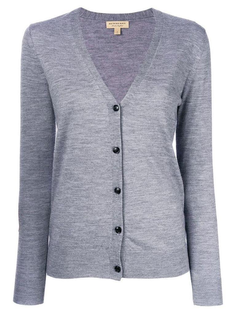 Burberry Check Detail Merino Wool Cardigan - Grey