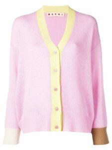 Marni colour-block long-sleeve cardigan - Pink