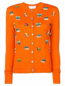 Carolina Herrera animal embroidery cardigan - Yellow
