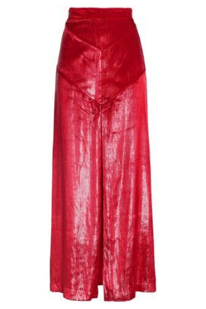 Michael Lo Sordo Woman Split-front Metallic Velvet Maxi Skirt Red Size 14