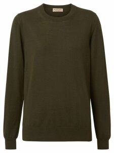 Burberry Vintage Check Detail Merino Wool Sweater - Green