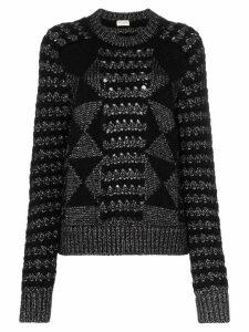 Saint Laurent cable knit mohair jumper - Black