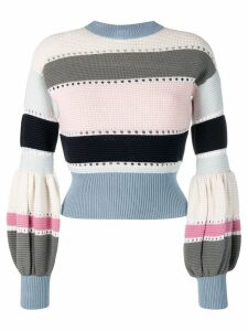 Self-Portrait puff sleeve striped sweater - Blue