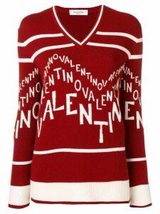 Valentino logo intarsia jumper - Red
