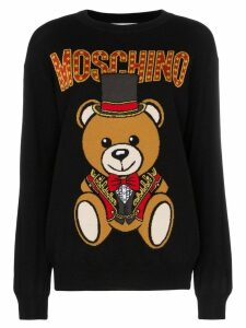 Moschino logo bear intarsia knitted virgin wool jumper - Black