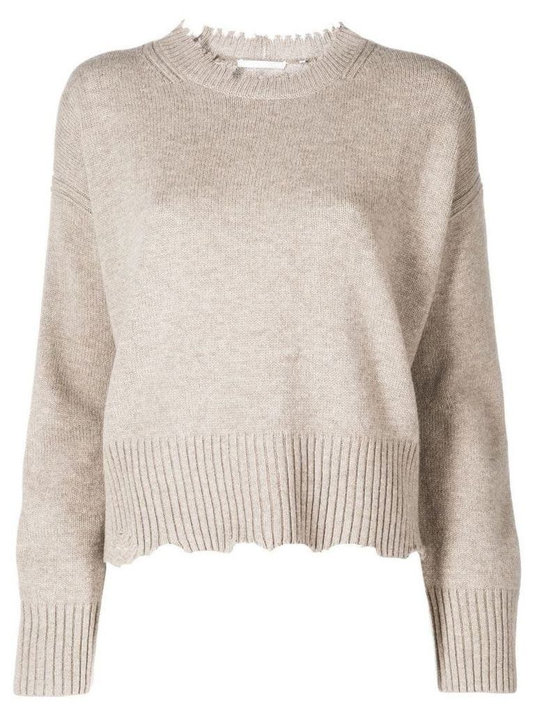 Helmut Lang distressed knitted jumper - Neutrals