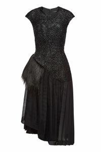Simone Rocha Asymmetric Dress with Wool and Faux Fur