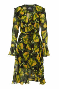 Marc Jacobs Printed Silk Dress with Bell Sleeves