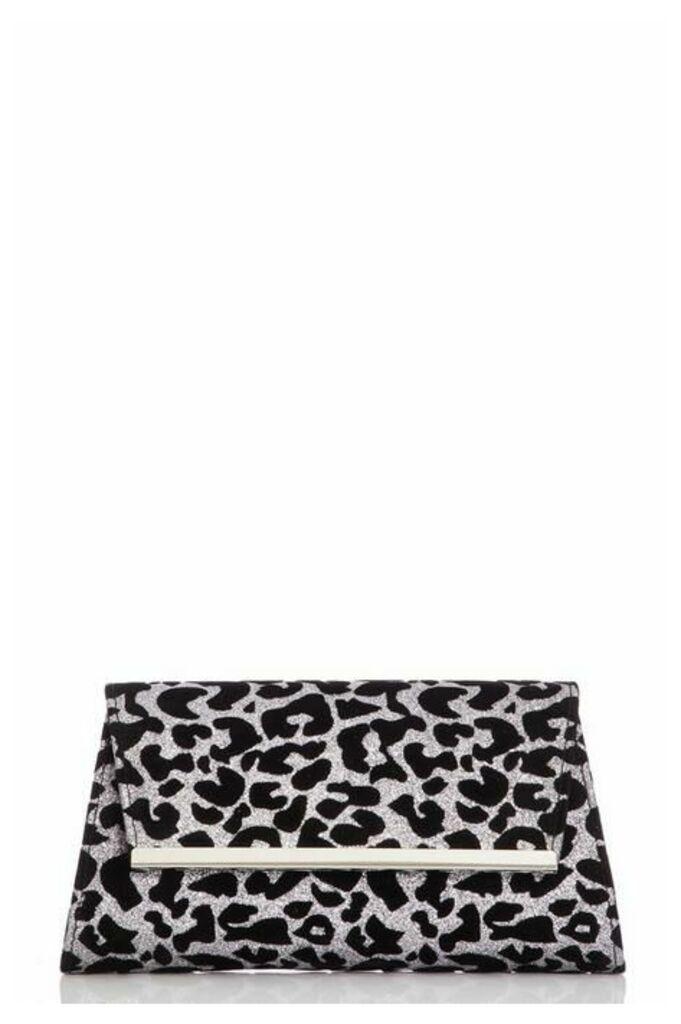 Quiz Glitter Leopard Print Clutch Bag