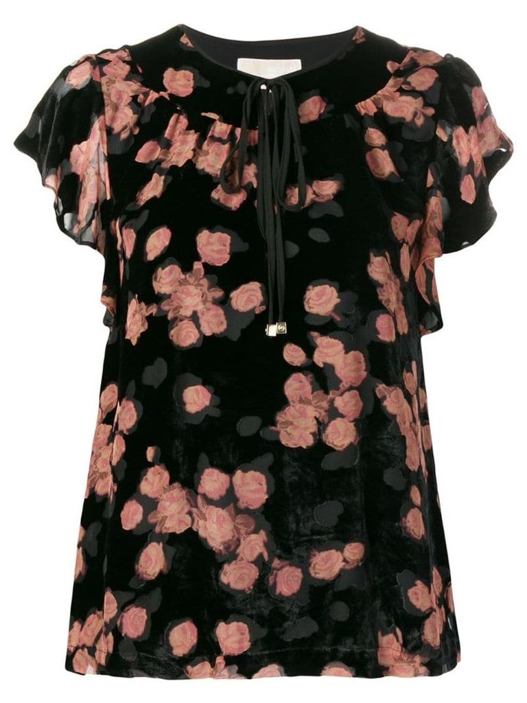 Michael Michael Kors rose print tie neck T-shirt - Black