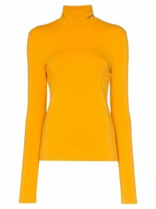 Calvin Klein 205W39nyc logo fitted cotton turtleneck top - Yellow
