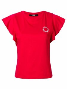 Karl Lagerfeld ruffle sleeve T-shirt - Red