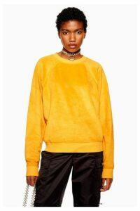 Womens Furry Sweatshirt - Mustard, Mustard