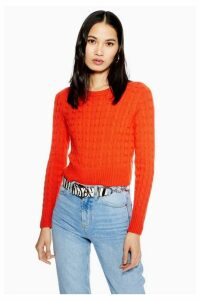 Womens Cable Crop Jumper With Cashmere - Coral, Coral