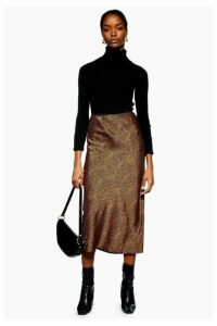 Womens Spot Animal Satin Bias Midi Skirt - Rust, Rust