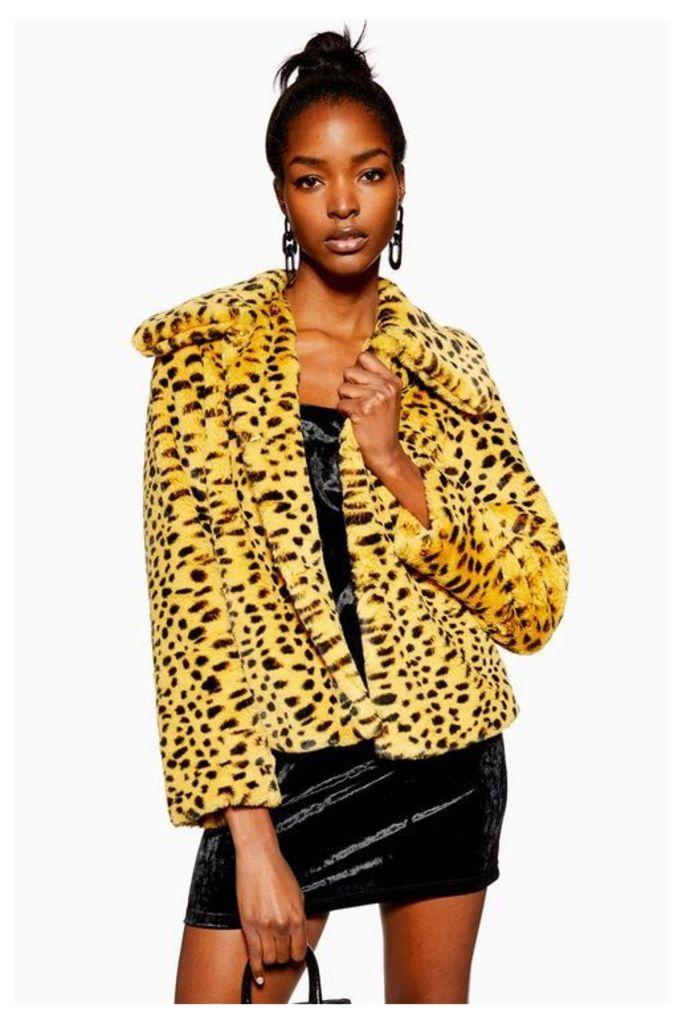Womens Cheetah Print Faux Fur Coat - Multi, Multi