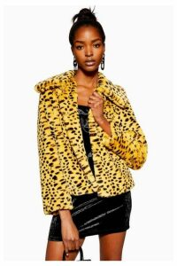 Womens Cheetah Print Faux Fur Coat - Multi, Multi