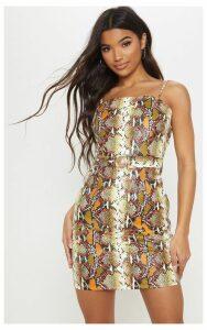 Multi PU Snake Print Gold Buckle Bodycon Dress, Multi