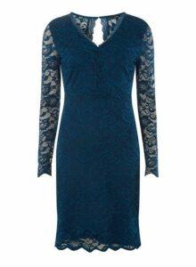 Womens **Vero Moda Blue V-Neck Lace Bodycon Dress- Blue, Blue