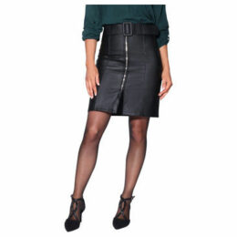 Krisp  Front Zip Faux Leather Skirt [Black]  women's Skirt in Black
